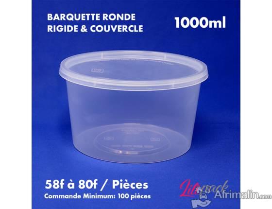 Boite plastique ronde rigide avec couvercle 1000ml