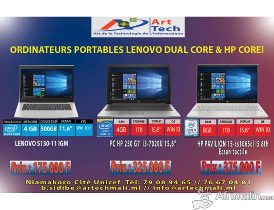 Ordinateurs Portables Lenovo Dual core et HP corei