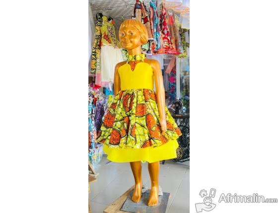 Vêtement : Robes pagnes avec Tuile pour enfants de 0 à 12ans