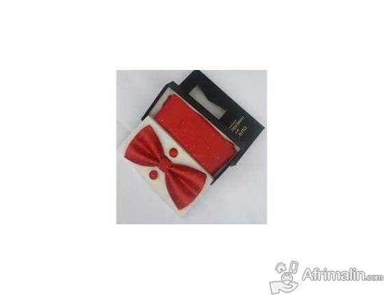 Ensemble noeud papillon; mouchoir de poche et pins
