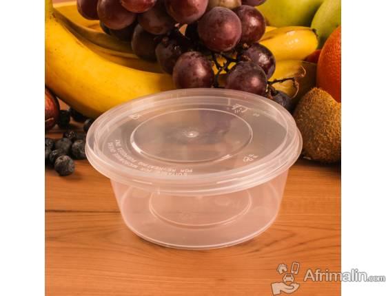 Boite plastique ronde rigide avec couvercle 300ml