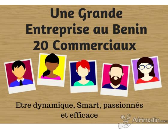 Recrutement urgent de 20 commerciaux pour une grande entreprise au Bénin