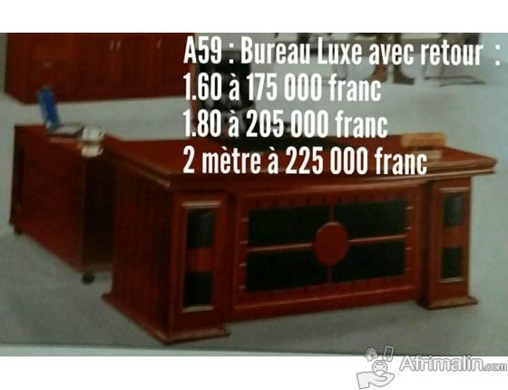 Bureau de luxe avec retour caisson tiroirs niches en bois bamako