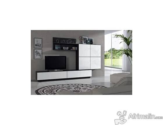 Lue Meuble Tv Mural Mélaminé Blanc Brillant Et Noir Malla L 250 Cm