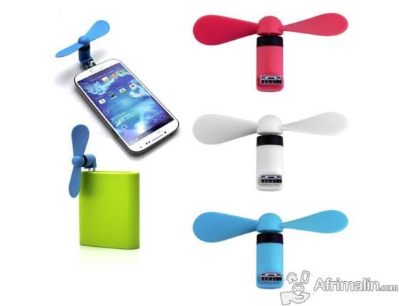 Mini Ventilateur micro USB pour Smartphones/Tablettes/Power Bank - Bleu