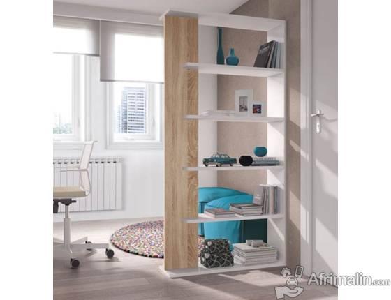 ALIDA Bibliothèque chene Et Blanc Brillant – L 90