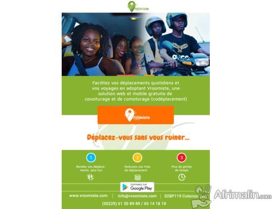 VROOMISTE , 1ère Application de covoiturage et de Comotorage au Bénin.