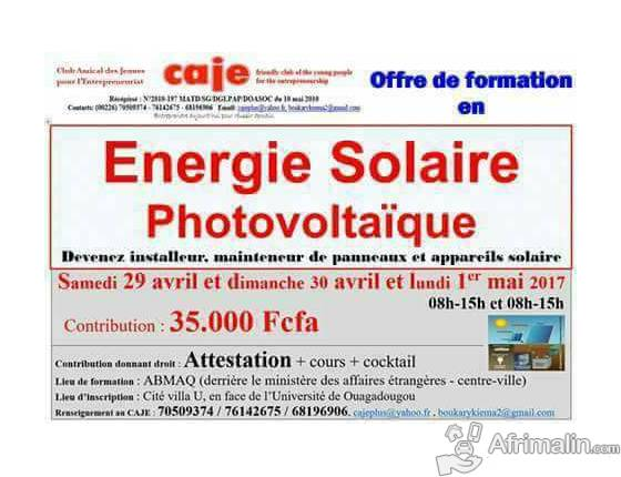 formation en installation de panneaux solaires et maintenance ouagadougou r gion du centre. Black Bedroom Furniture Sets. Home Design Ideas
