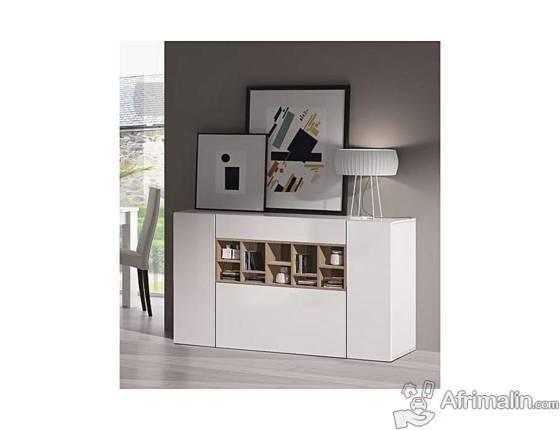DECO Buffet bas contemporain laqué blanc et décor chêne canadien - L 150 cm