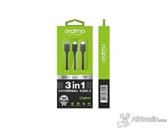 Accessoire Téléphone : Câble chargeur ORAIMO 3 in 1