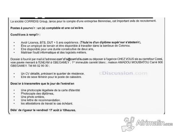 Une Entreprise Béninoise Recrute 01 Comptable Et 01