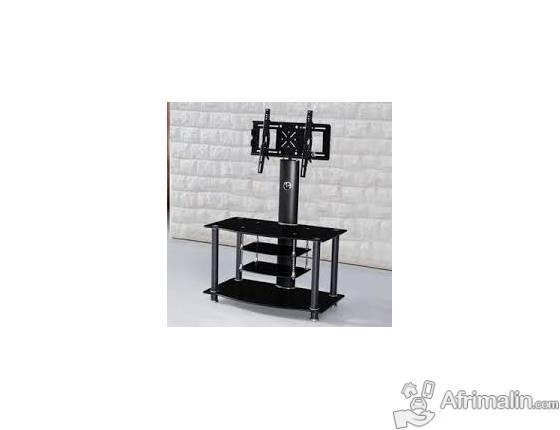 Table Tv Noir Avec Support Tv Avec 3 Etageres 1200440