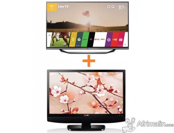 "LG 49UF770T 49"" Ultra HD 4K TV + Moniteur 22"" Full HD 22MT48A Gratuit - Noir"
