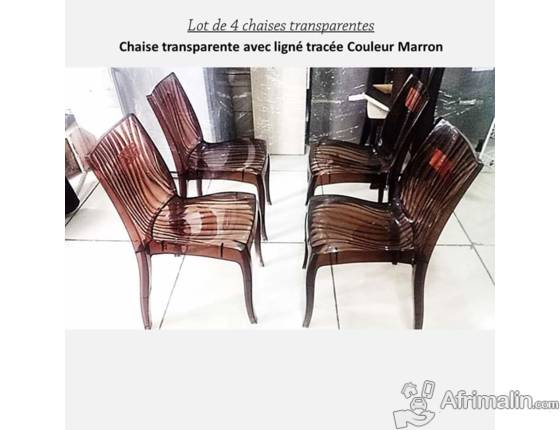 Lot de 4 chaises transparentes