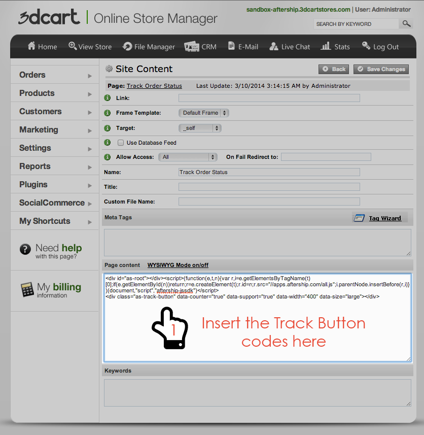 Add Track Your Order Page at 3dcart Step 2