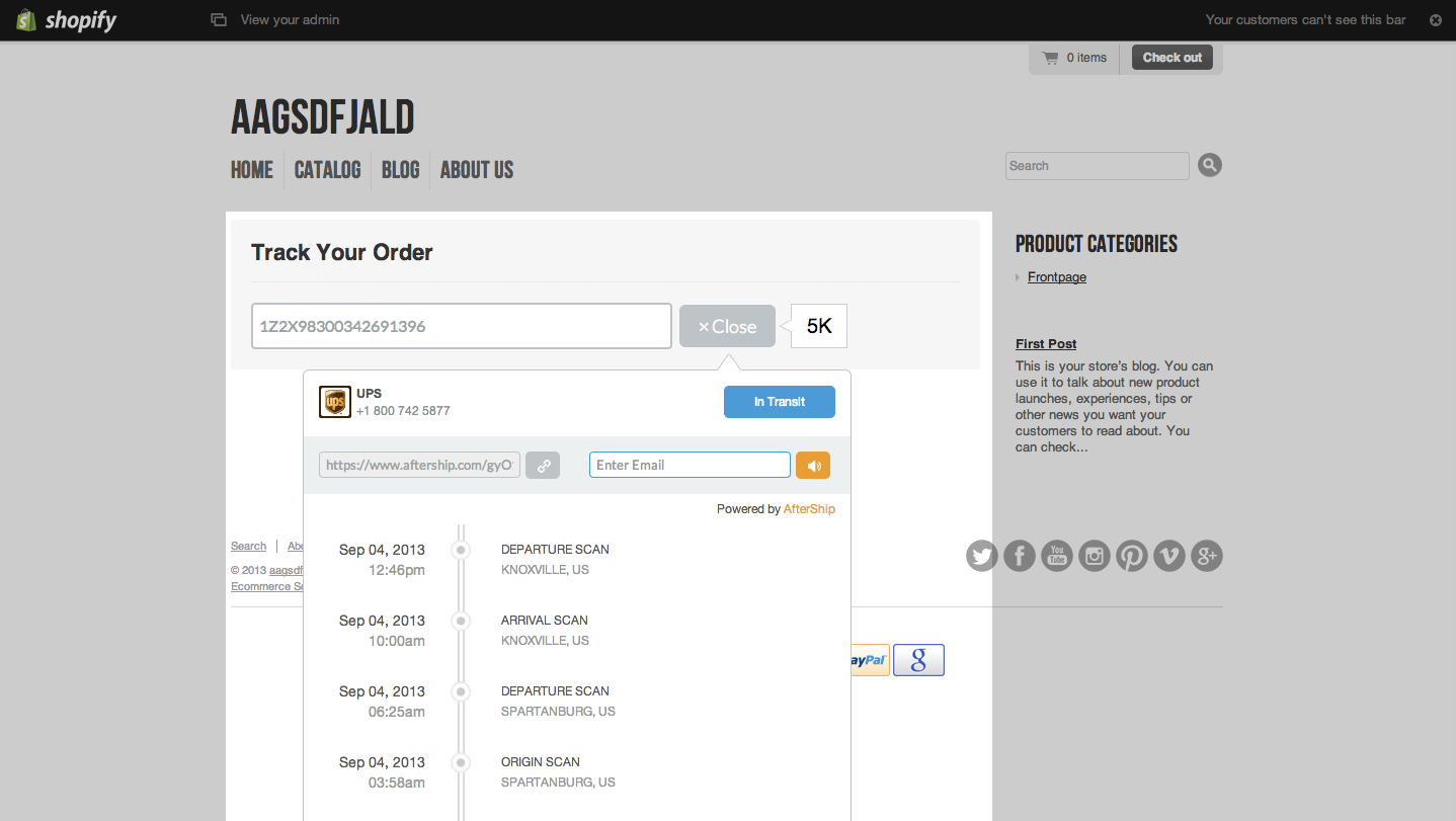 Add Track Your Order Page at Shopify