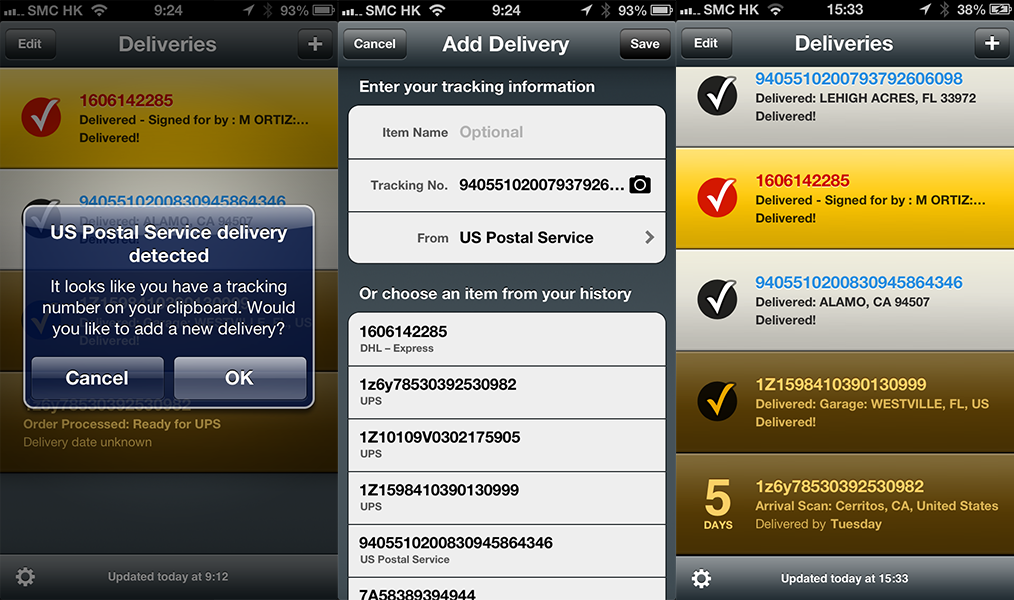 Deliveries package tracking iphone app