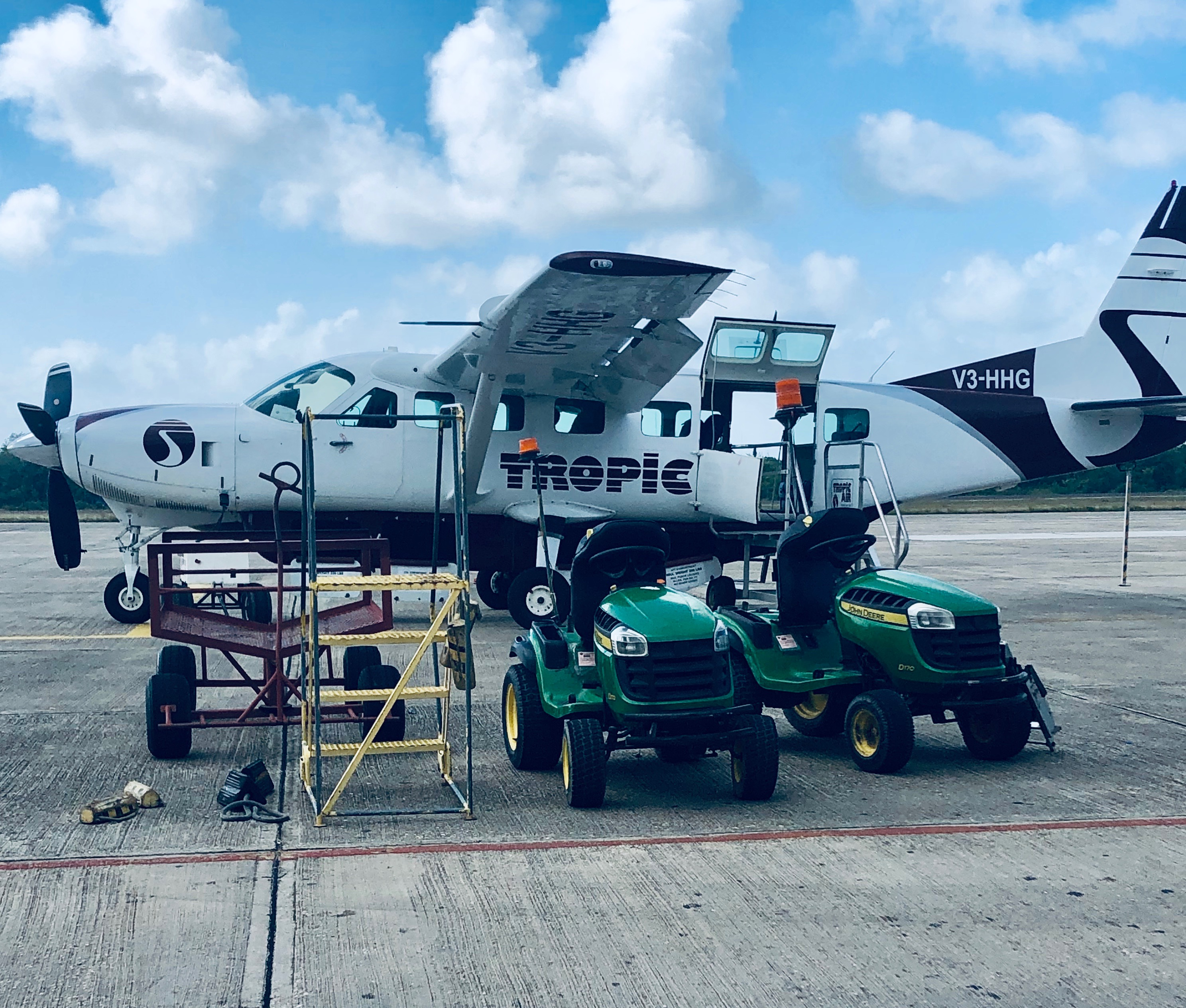 Trop Air Sessna being prepared for flight from BZE Airport to Ambergirs Caye