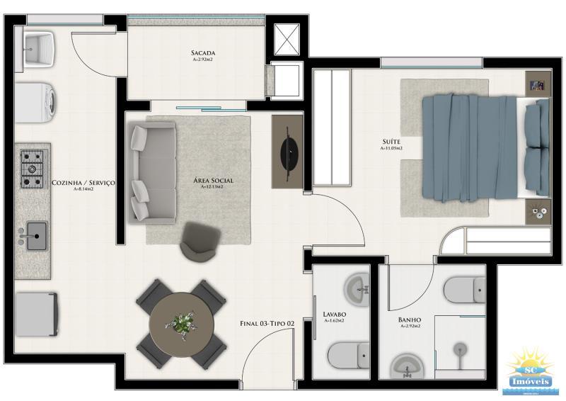 Apartamento Código 14160 a Venda no bairro Centro na cidade de São José