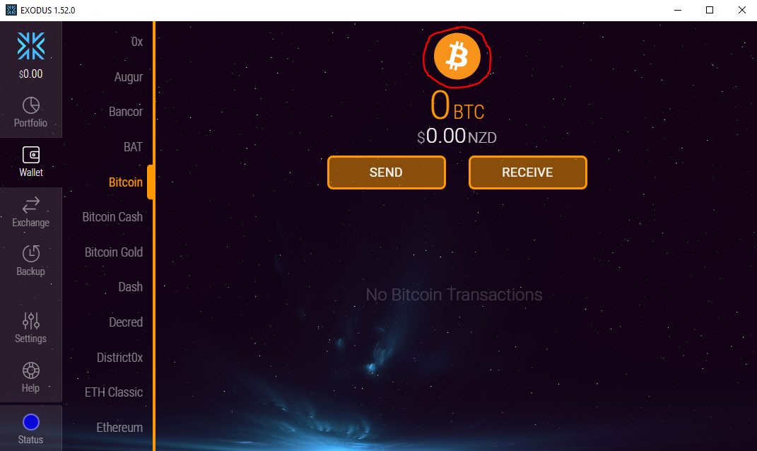 Exodus Wallet (Bitcoin)