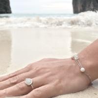 Bracelet argent pierre rose aglaiaco