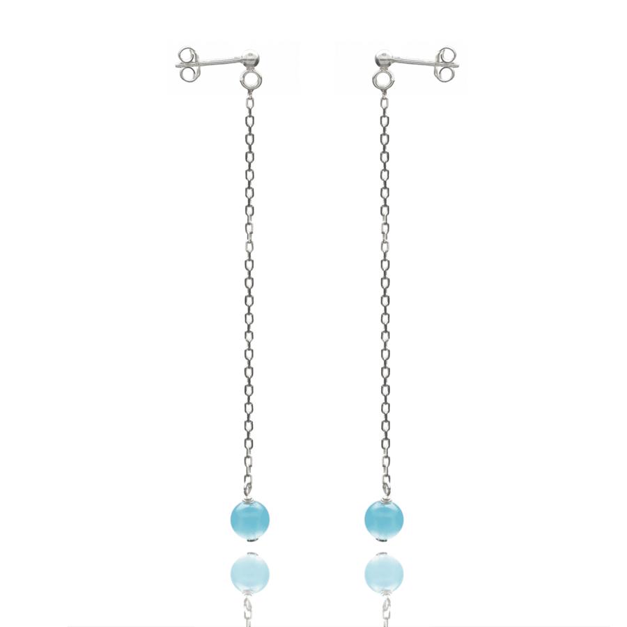 Aglaia bijoux argent pierre boucles oreilles pendant chalcedony elegance eternelle 1
