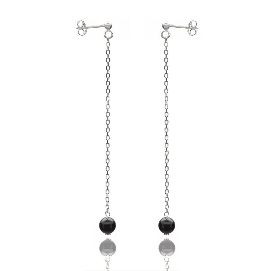Aglaia bijoux argent pierre boucles oreilles pendant onyx elegance eternelle 1