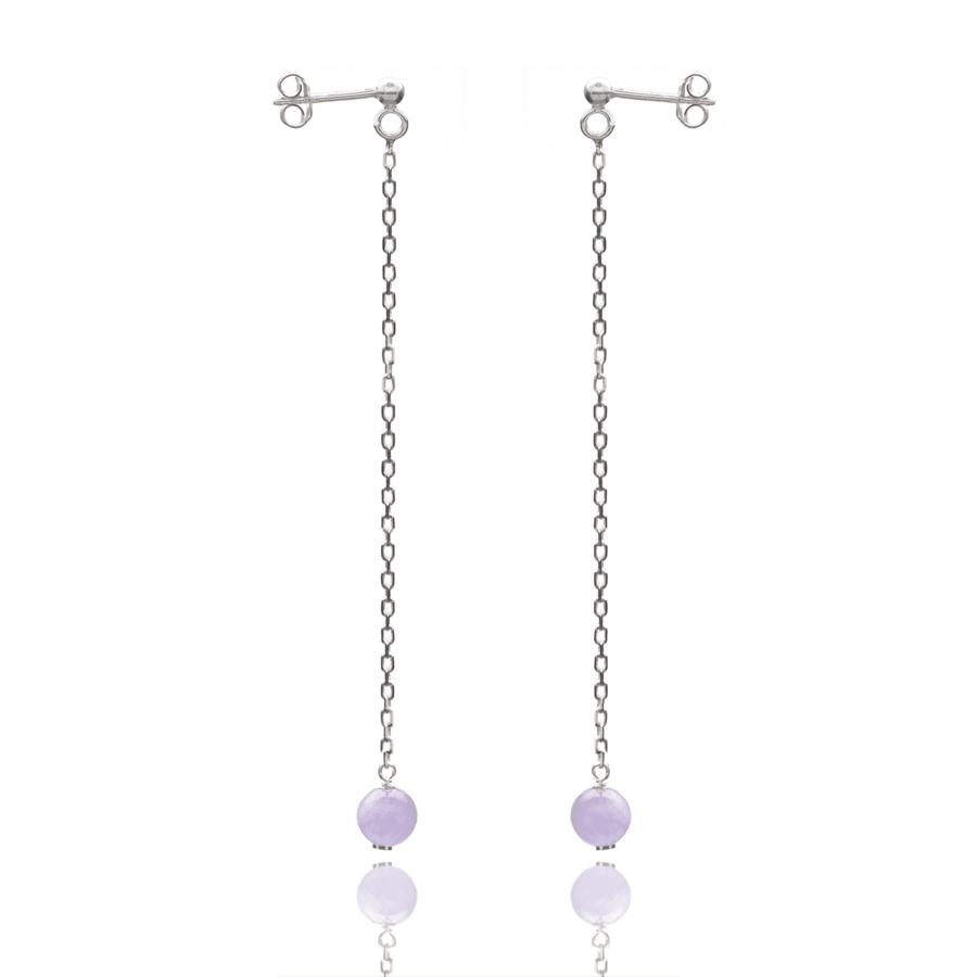 Aglaia bijoux argent pierre boucles oreilles pendant amethyste lavande elegance eternelle 1