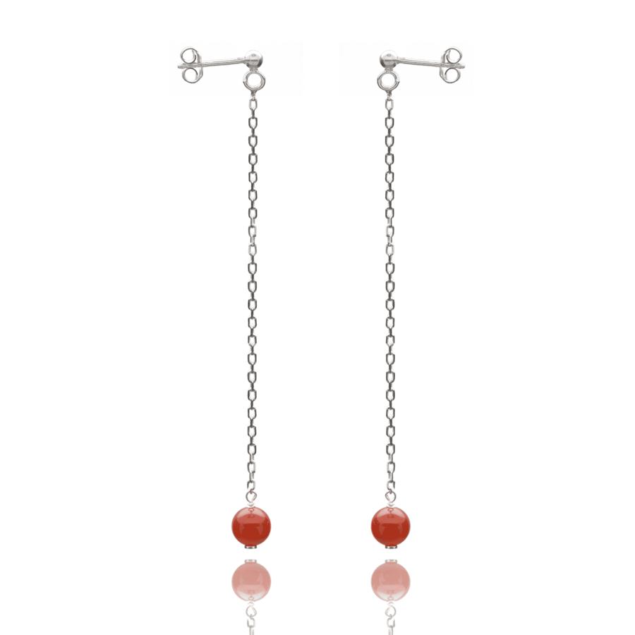 Aglaia bijoux argent pierre boucles oreilles pendant cornaline elegance eternelle 1