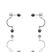 Aglaia bijoux argent pierre boucles oreilles puce hematite sentiment contraire 1