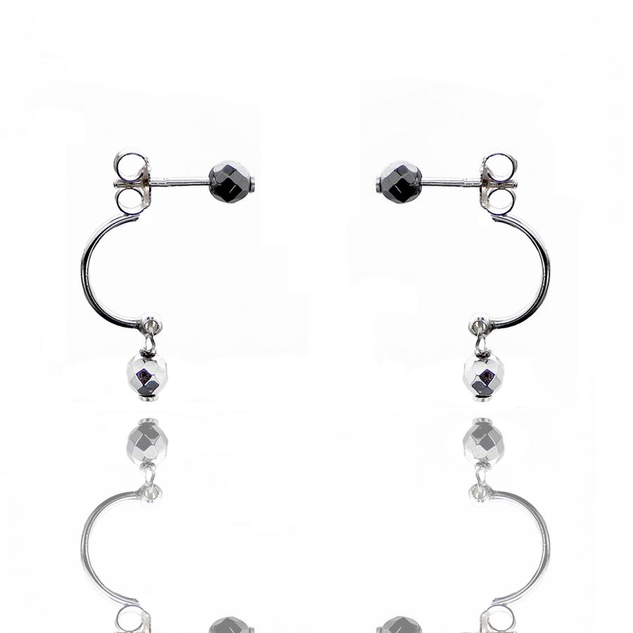 Aglaia bijoux argent pierre boucles oreilles puce hematite silver sentiment contraire 1