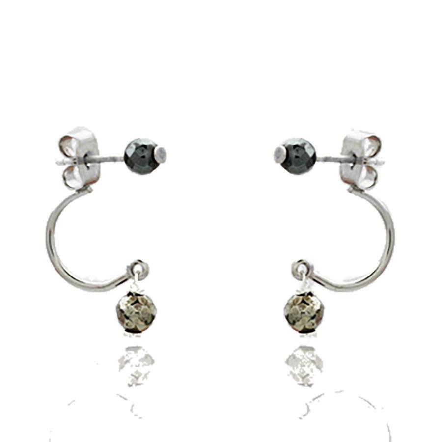 Aglaia bijoux argent pierre boucles oreilles pyrite sentiments contraires 1