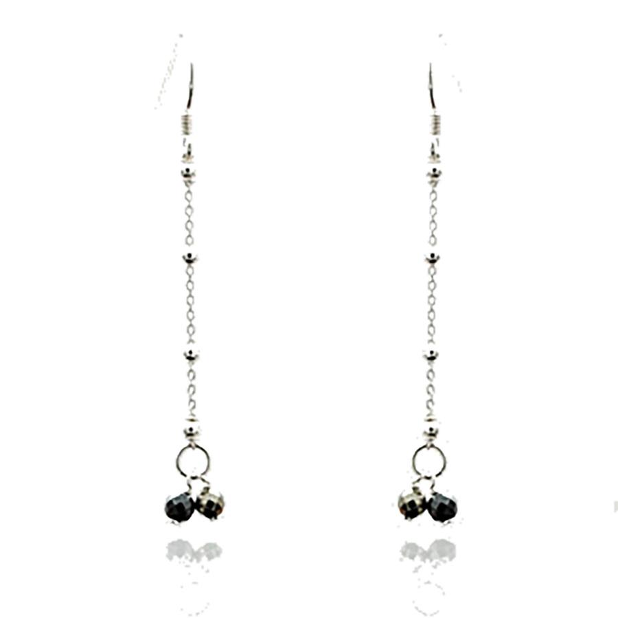 Aglaia bijoux argent pierre boucles oreilles longues pyrite sentiments contraires 1