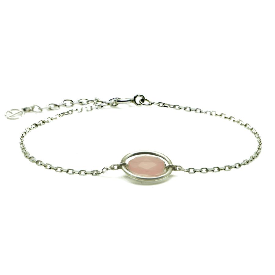 Aglaia bijoux argent pierre bracelet anneau calcedoine rose me 1