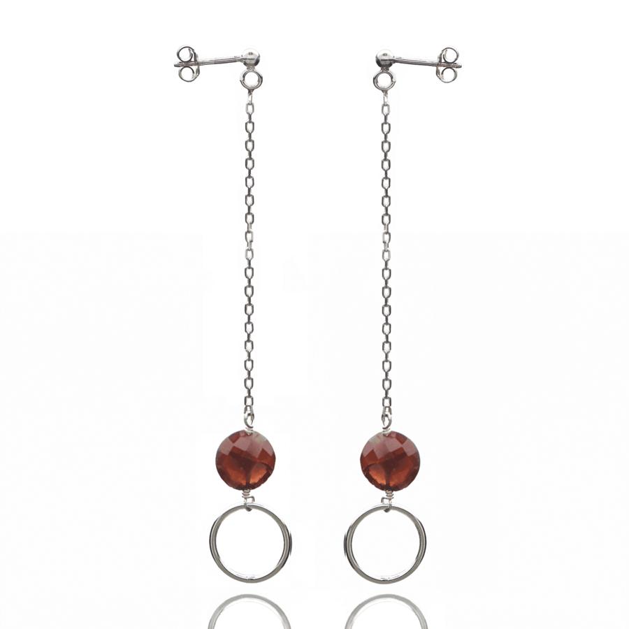 Aglaia bijoux argent pierre boucles oreilles pendantes grenat o 1