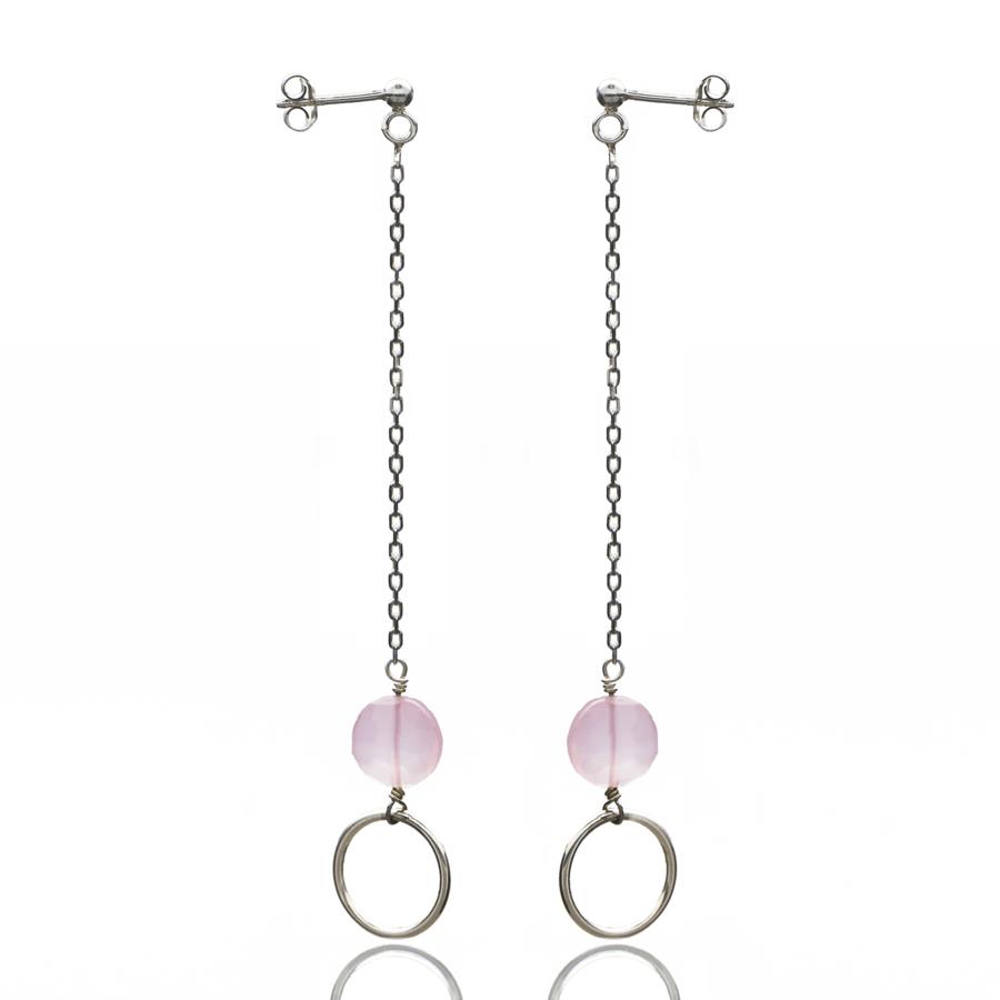 Aglaia bijoux argent pierre boucles oreilles pendantes calcedoine rose o 1