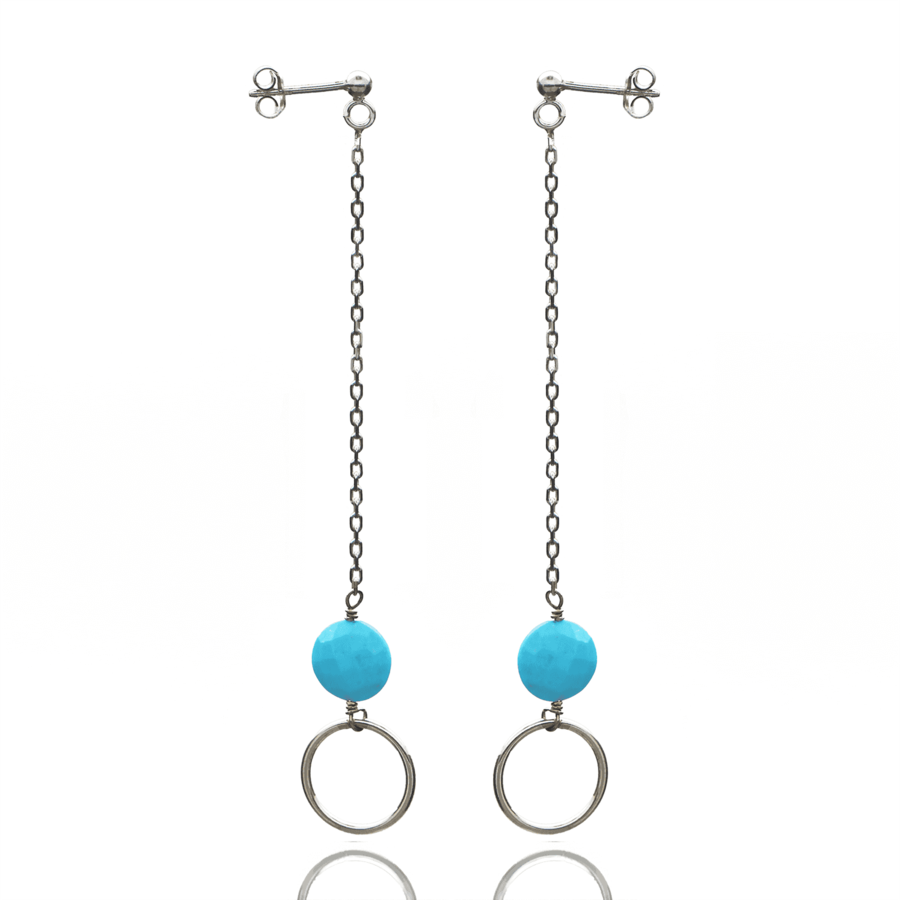 Aglaia bijoux argent pierre boucles oreilles pendantes turquoise o 1