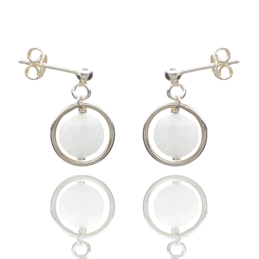 Aglaia bijoux argent pierre boucles oreilles puce silverite o 1