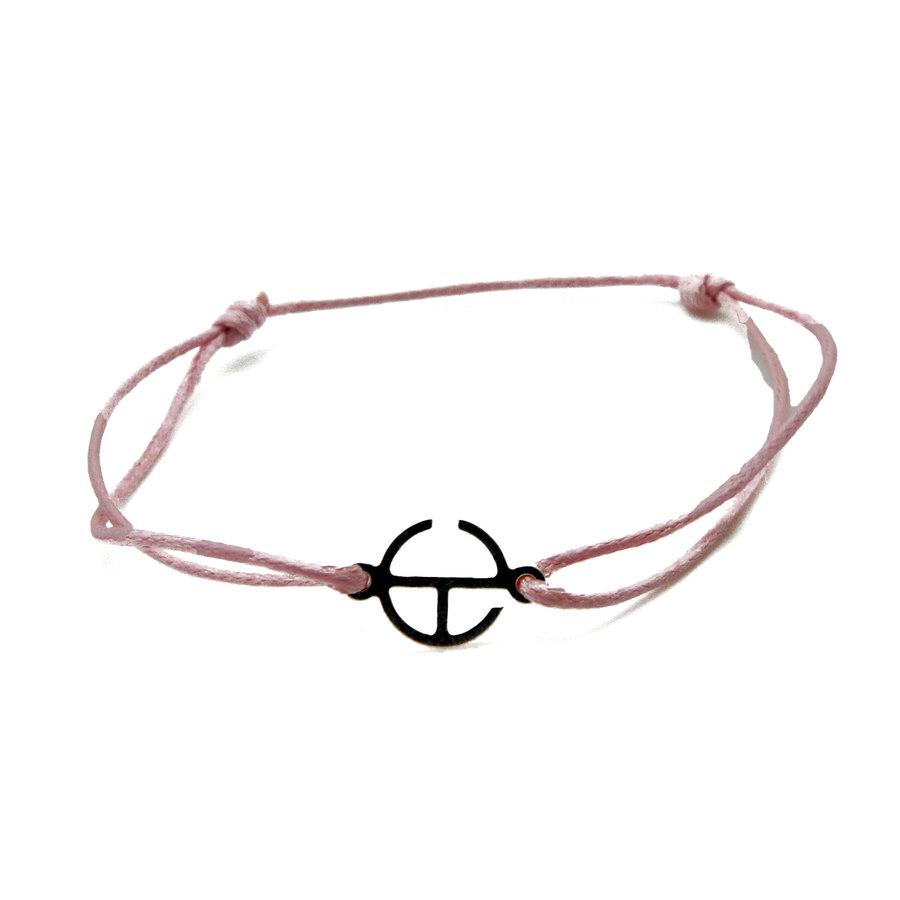 Aglaia bijoux argent pierre bracelet cordon rose clair signature 1