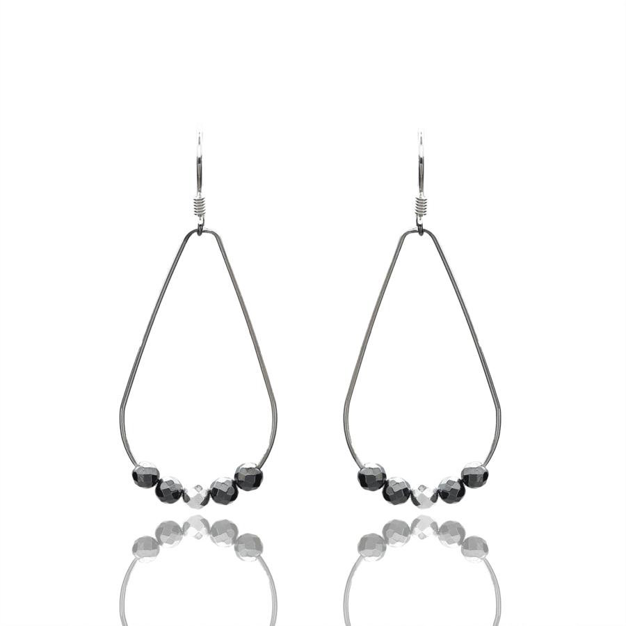 Aglaia bijoux argent pierre boucles oreilles goutte hematite silver sentiment contraire 1