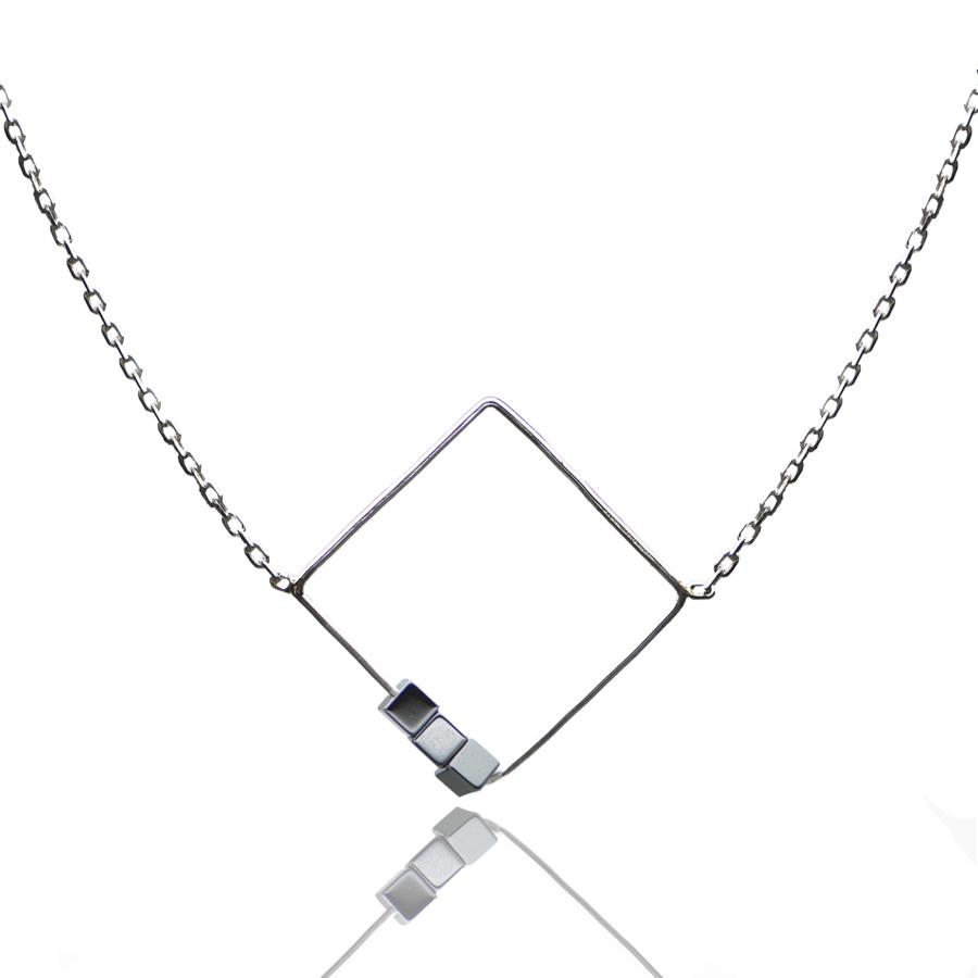Aglaia bijoux argent pierre collier graphique hematite sentiment contraire 1