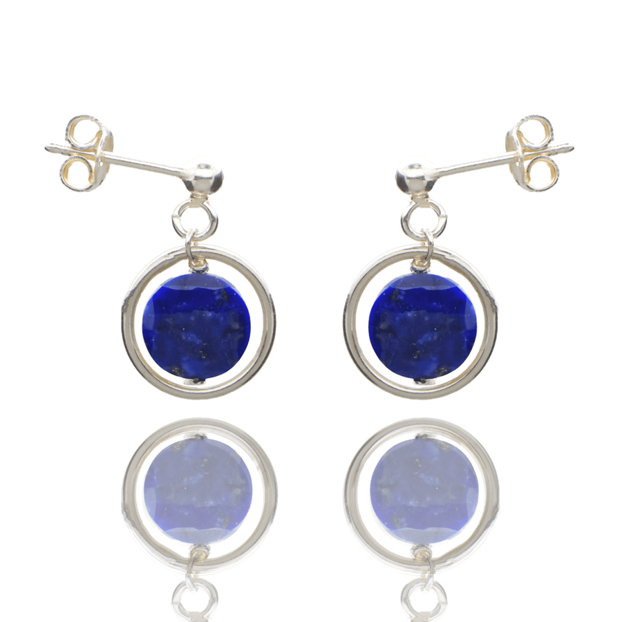 Aglaia bijoux argent pierre boucles oreilles puce lapis lazuli o 1