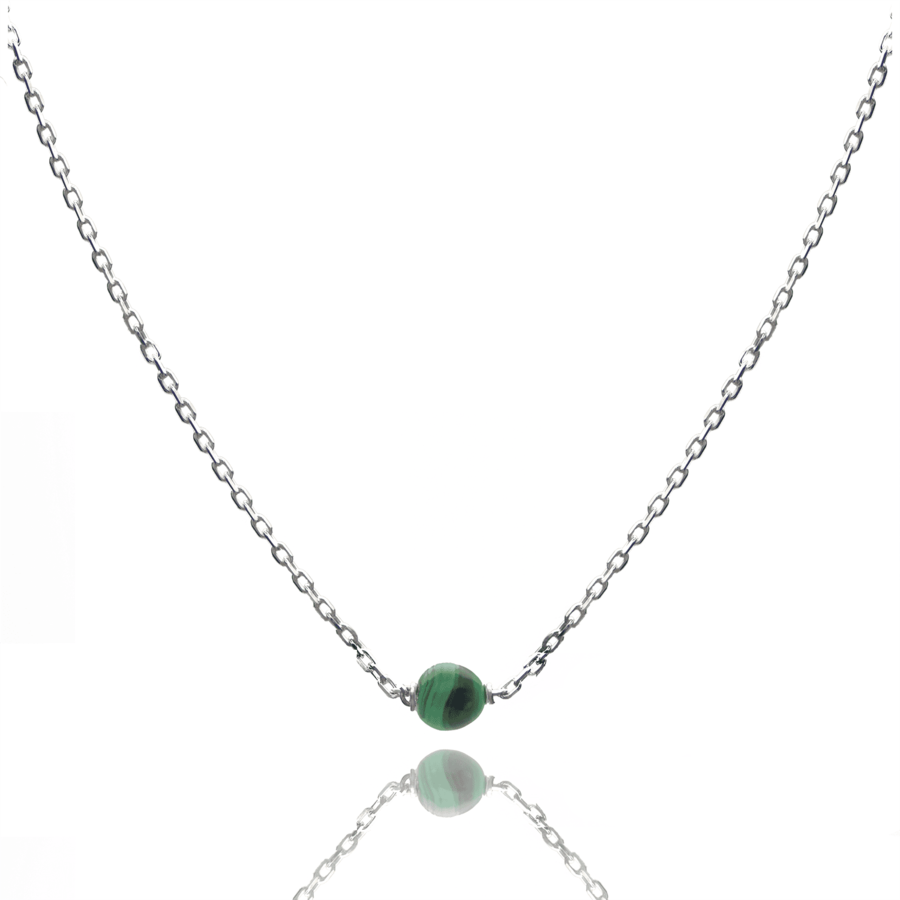 Aglaia bijoux argent pierre collier malachite elegance eternelle 1