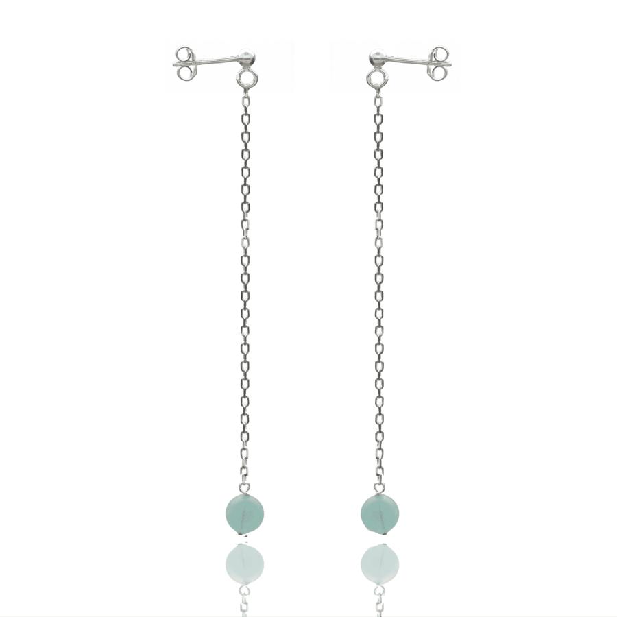 Aglaia bijoux argent pierre boucles oreilles pendant aigue marine elegance eternelle 1