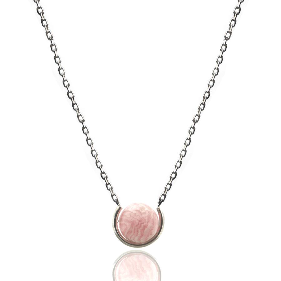 Aglaia bijoux argent pierre sautoir rhodocrosite elegance eternelle 1