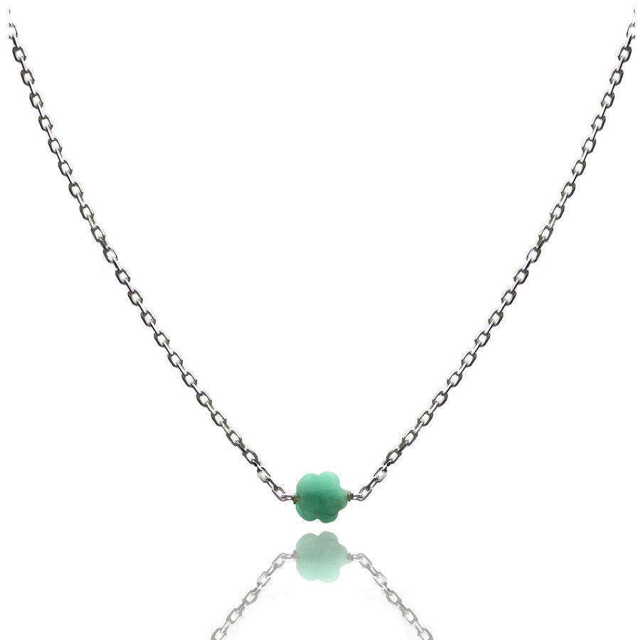Aglaia bijoux argent pierre collier emeraude flower 1