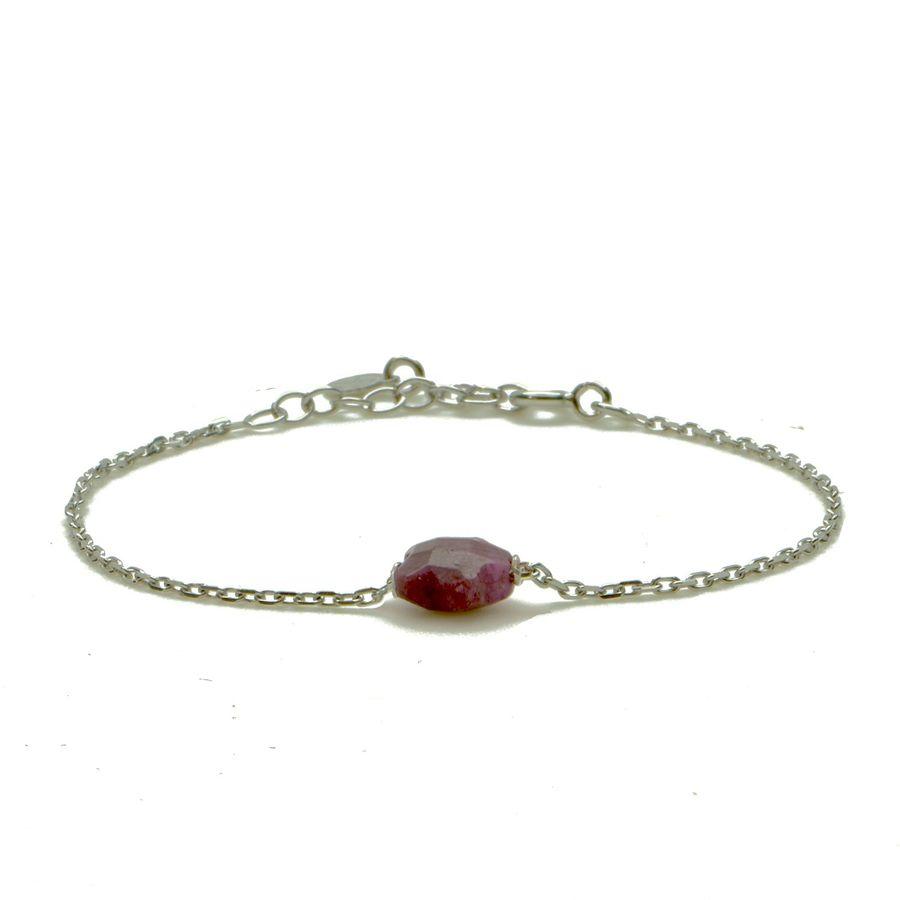 Aglaia bijoux argent pierre bracelet rubis flower 1