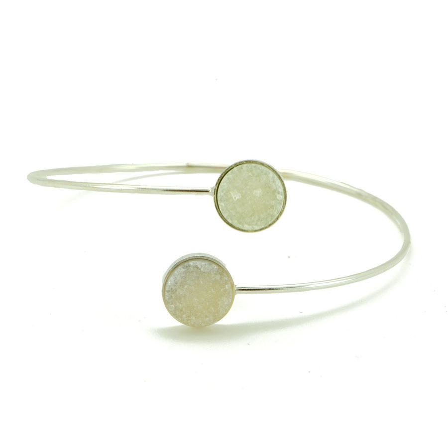 Aglaia bijoux argent pierre jonc bras druzy 1