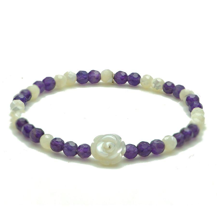 Aglaia bijoux argent pierre bracelet nacre fleur 1