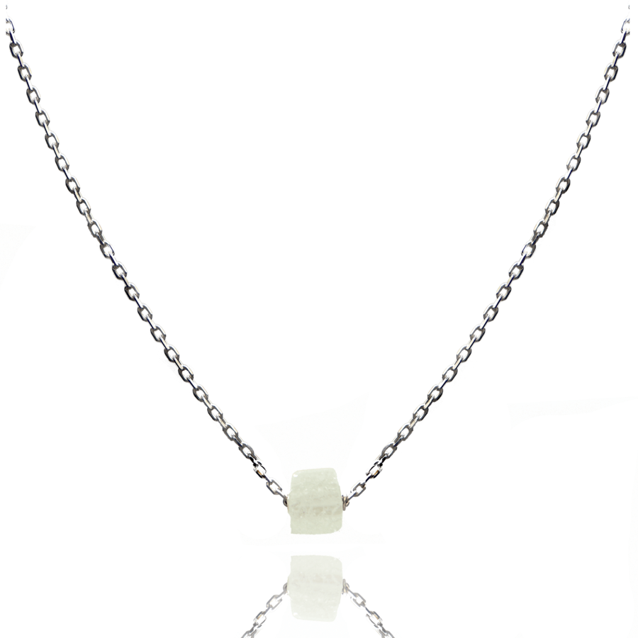 Collier argent pierre cristal roche